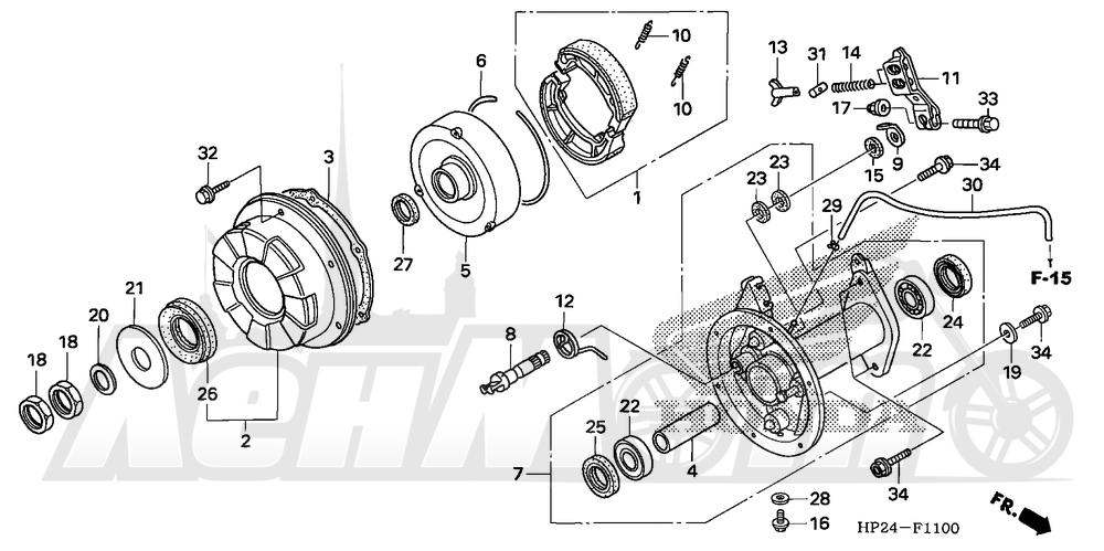 Запчасти для Квадроцикла Honda 2008 TRX90EX Раздел: REAR BRAKE PANEL | задний тормоз панель