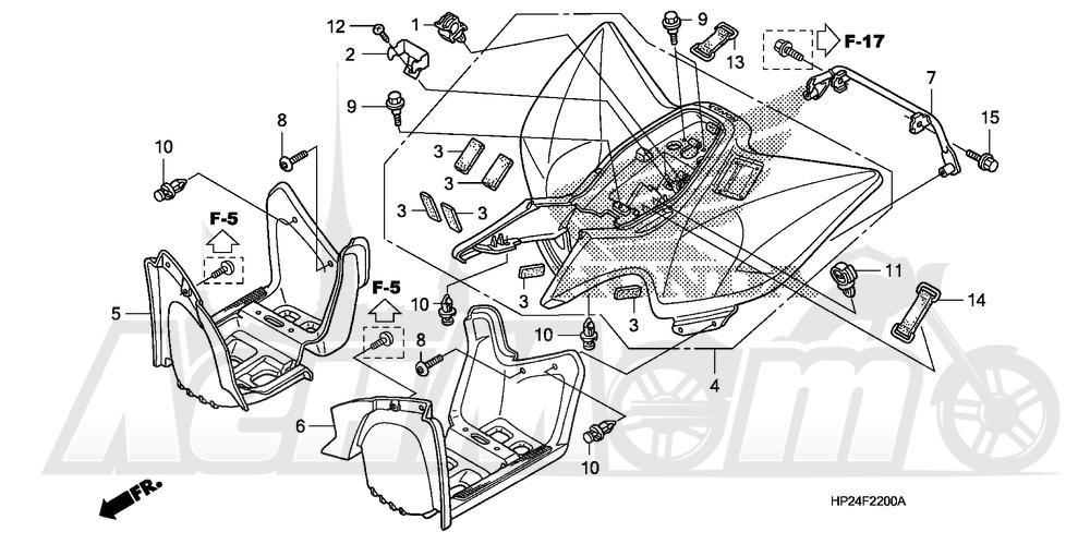 Запчасти для Квадроцикла Honda 2008 TRX90EX Раздел: REAR FENDER | заднее крыло