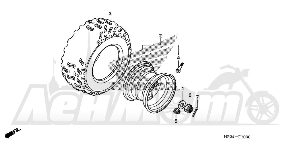 Запчасти для Квадроцикла Honda 2008 TRX90EX Раздел: REAR WHEEL | заднее колесо