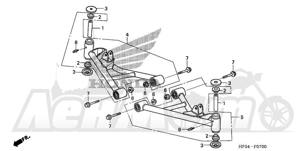 Запчасти для Квадроцикла Honda 2008 TRX90EX Раздел: FRONT ARM | передний рычаг