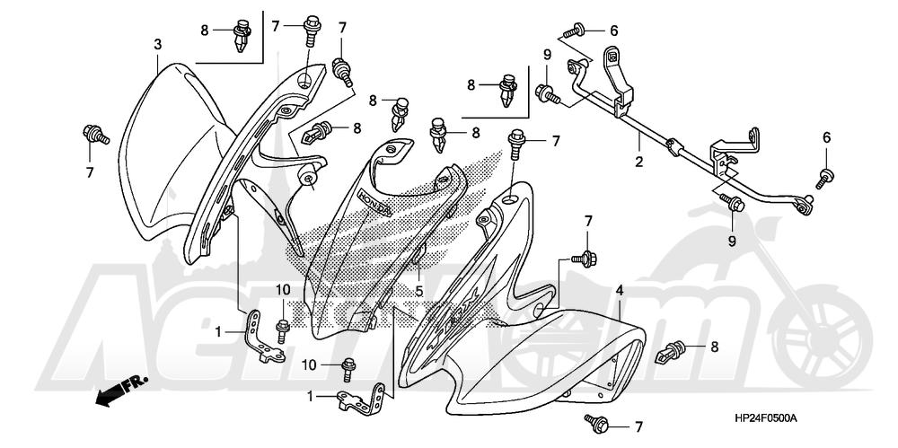 Запчасти для Квадроцикла Honda 2008 TRX90EX Раздел: FRONT FENDER | переднее крыло