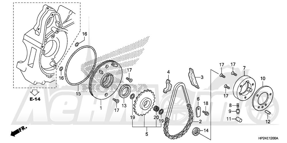 Запчасти для Квадроцикла Honda 2008 TRX90EX Раздел: STARTER GEAR   стартер шестерня