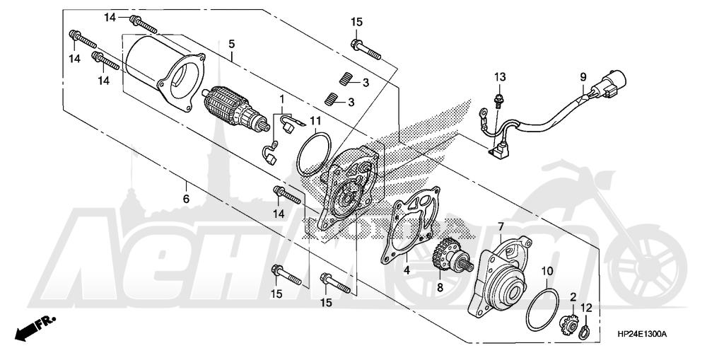 Запчасти для Квадроцикла Honda 2008 TRX90EX Раздел: STARTER MOTOR | электростартер