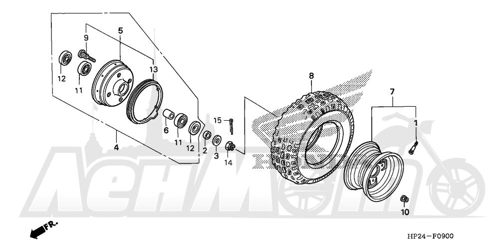 Запчасти для Квадроцикла Honda 2008 TRX90EX Раздел: FRONT WHEEL | переднее колесо