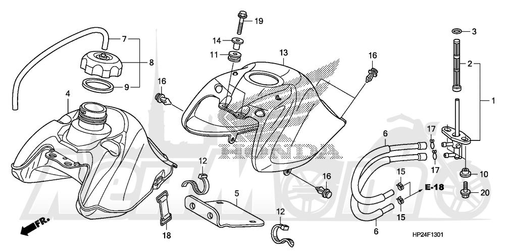 Запчасти для Квадроцикла Honda 2008 TRX90EX Раздел: FUEL TANK (2) | топливный бак (2)