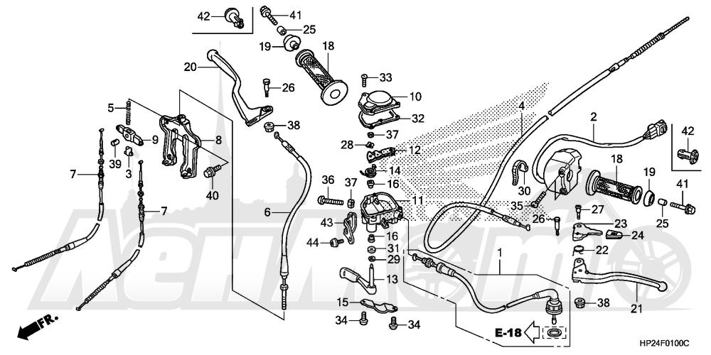 Запчасти для Квадроцикла Honda 2008 TRX90EX Раздел: HANDLE LEVERS AND SWITCH AND CABLES | ручка LEVERS и переключатель и тросики, кабели
