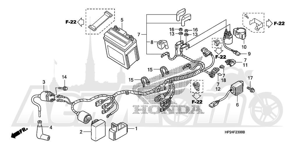 Запчасти для Квадроцикла Honda 2008 TRX90EX Раздел: WIRE HARNESS   жгут проводов