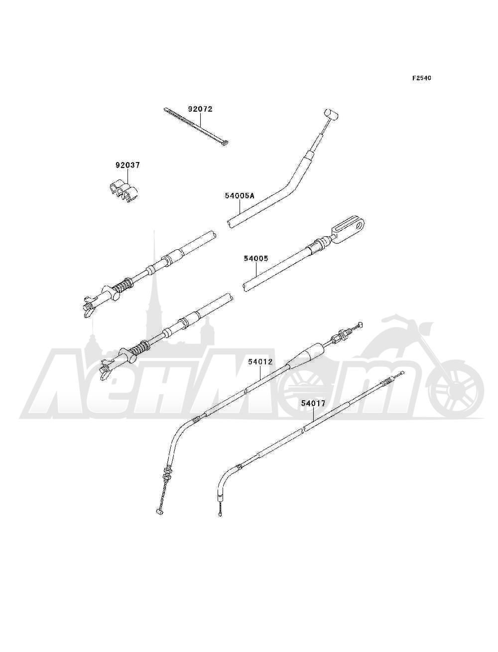 Запчасти для Квадроцикла Kawasaki 1994 BAYOU 300 4X4 (KLF300-C6) Раздел: CABLES   тросики, кабели