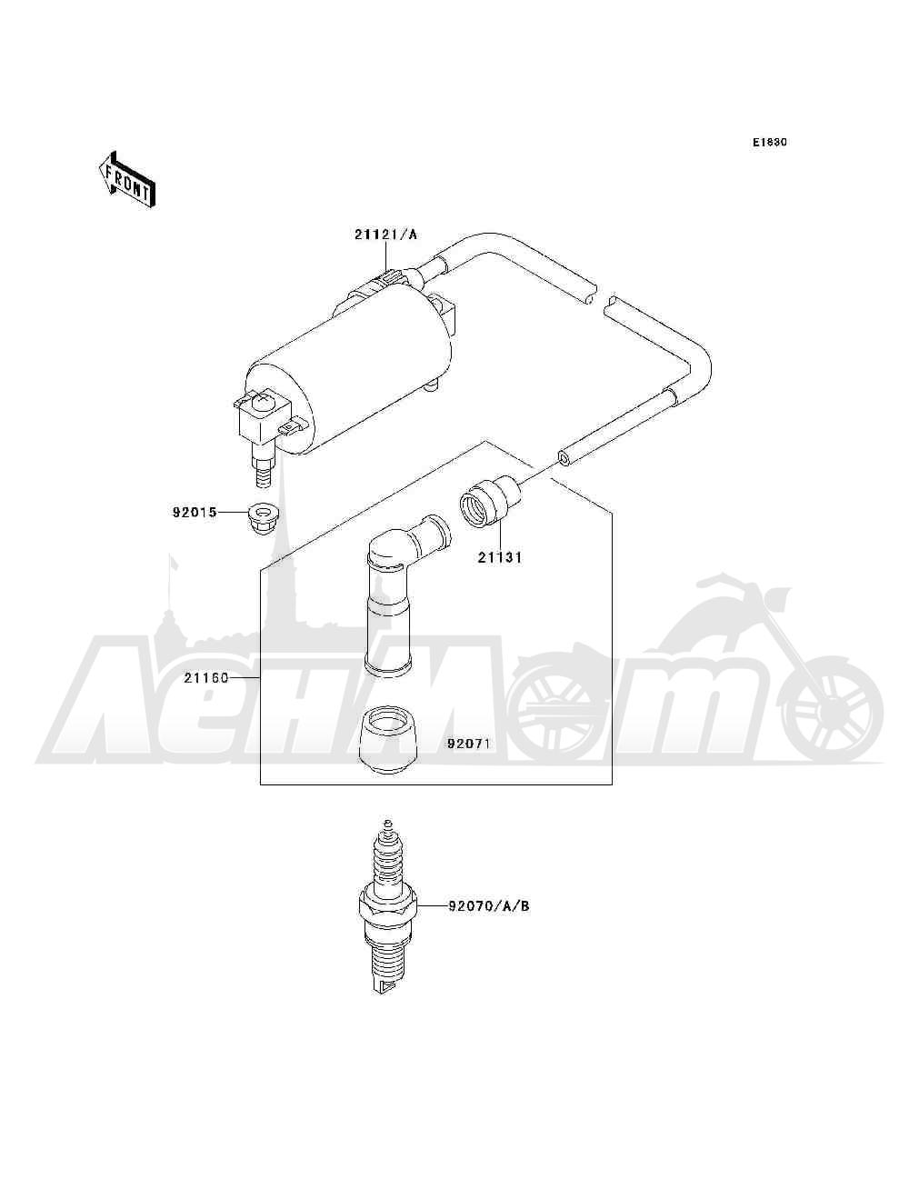Запчасти для Квадроцикла Kawasaki 1994 BAYOU 300 4X4 (KLF300-C6) Раздел: IGNITION SYSTEM | система зажигания