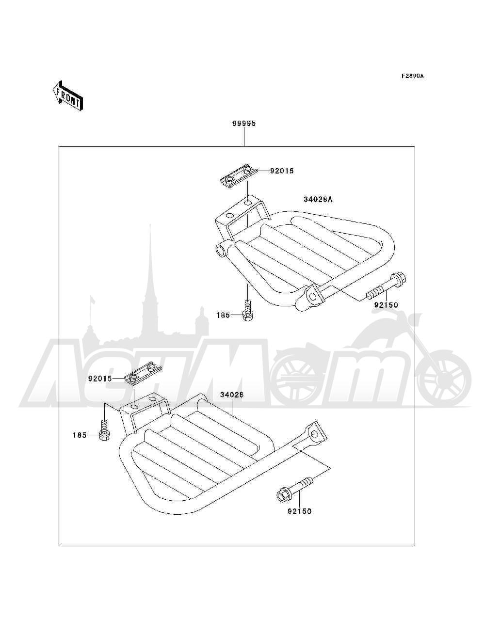 Запчасти для Квадроцикла Kawasaki 1994 BAYOU 300 4X4 (KLF300-C6) Раздел: OPTIONAL PARTS(FOOTRESTS) | опционально детали (подножки)