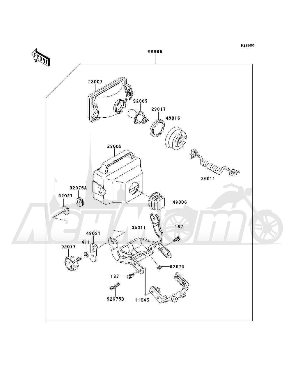 Запчасти для Квадроцикла Kawasaki 1994 BAYOU 300 4X4 (KLF300-C6) Раздел: OPTIONAL PARTS(HEADLIGHT)   опционально детали (передняя фара)