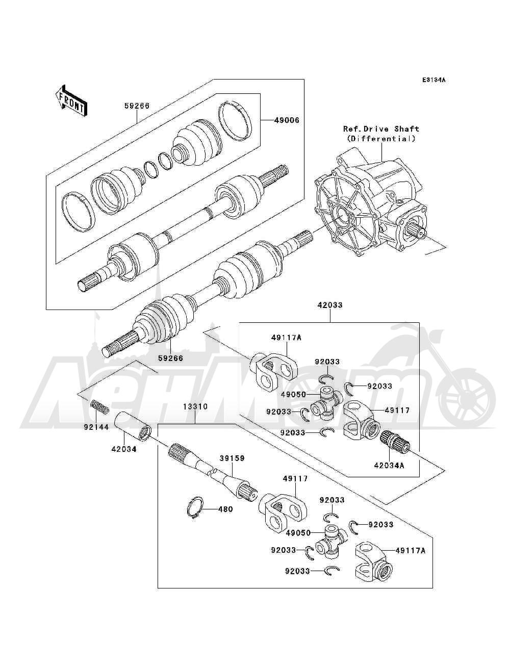 Запчасти для Квадроцикла Kawasaki 1994 BAYOU 300 4X4 (KLF300-C6) Раздел: DRIVE SHAFT(FRONT)(KLF300-C5 / C6) | приводной вал (перед) (KLF300 C5/C6)