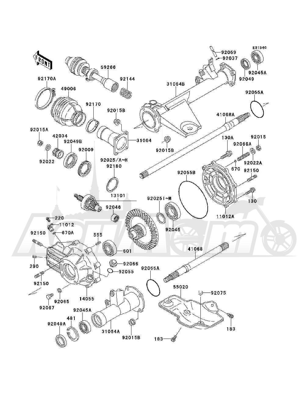 Запчасти для Квадроцикла Kawasaki 1994 BAYOU 300 4X4 (KLF300-C6) Раздел: DRIVE SHAFT(REAR) | приводной вал (зад)