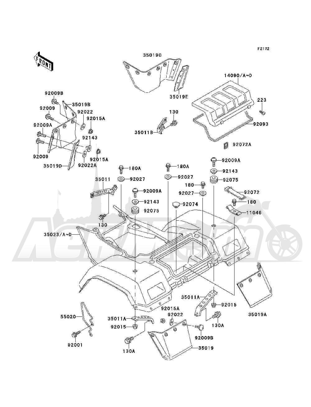 Запчасти для Квадроцикла Kawasaki 1994 BAYOU 300 4X4 (KLF300-C6) Раздел: REAR FENDER(S) | заднее крыло (S)