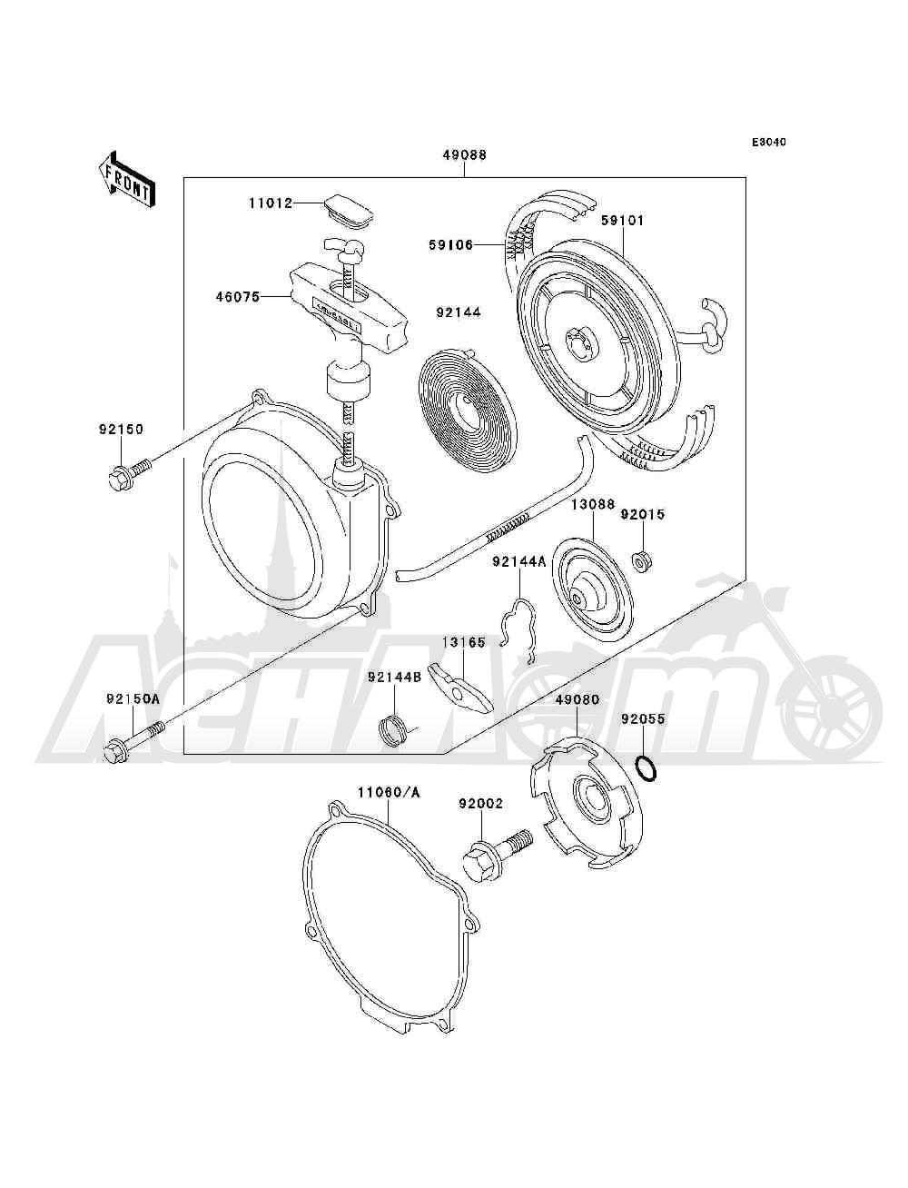 Запчасти для Квадроцикла Kawasaki 1994 BAYOU 300 4X4 (KLF300-C6) Раздел: RECOIL STARTER | ручной стартер