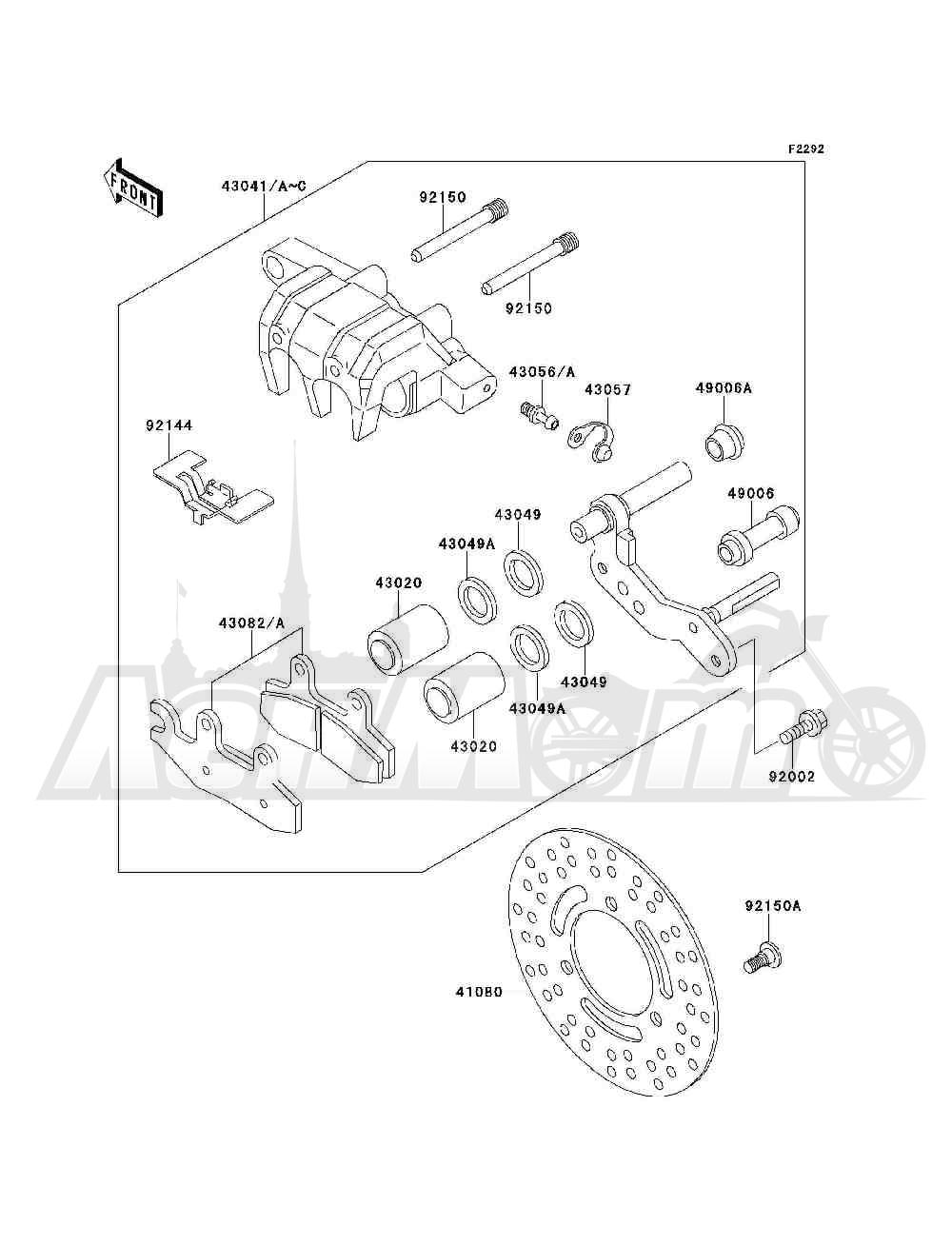 Запчасти для Квадроцикла Kawasaki 1994 BAYOU 300 4X4 (KLF300-C6) Раздел: FRONT BRAKE | передний тормоз