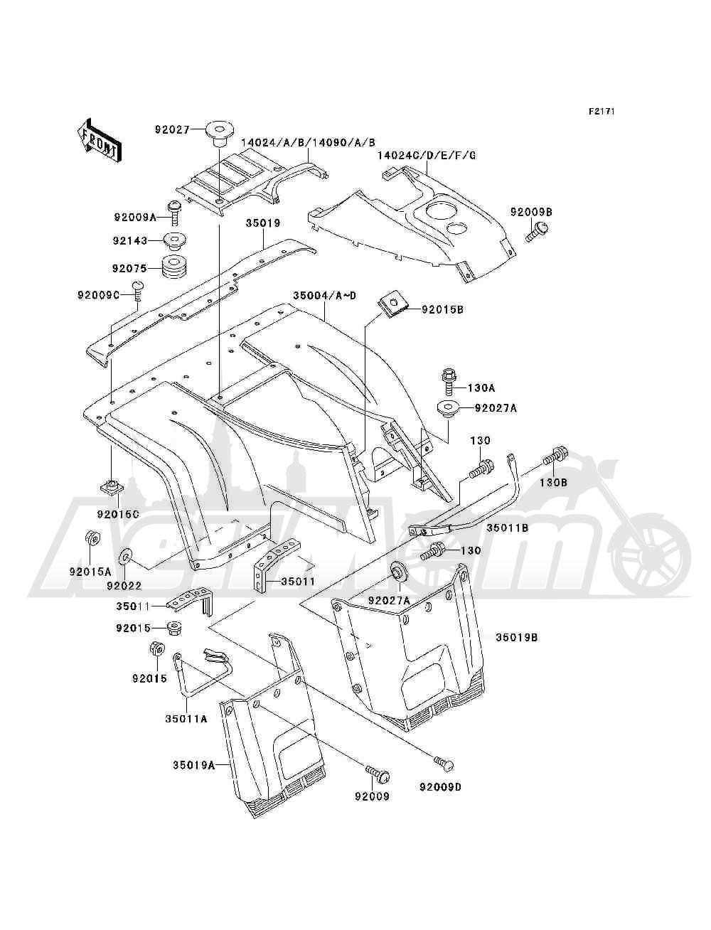 Запчасти для Квадроцикла Kawasaki 1994 BAYOU 300 4X4 (KLF300-C6) Раздел: FRONT FENDER(S) | переднее крыло (S)