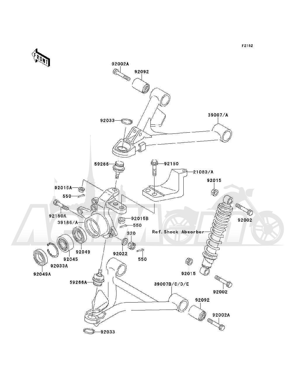 Запчасти для Квадроцикла Kawasaki 1994 BAYOU 300 4X4 (KLF300-C6) Раздел: FRONT SUSPENSION | передняя подвеска