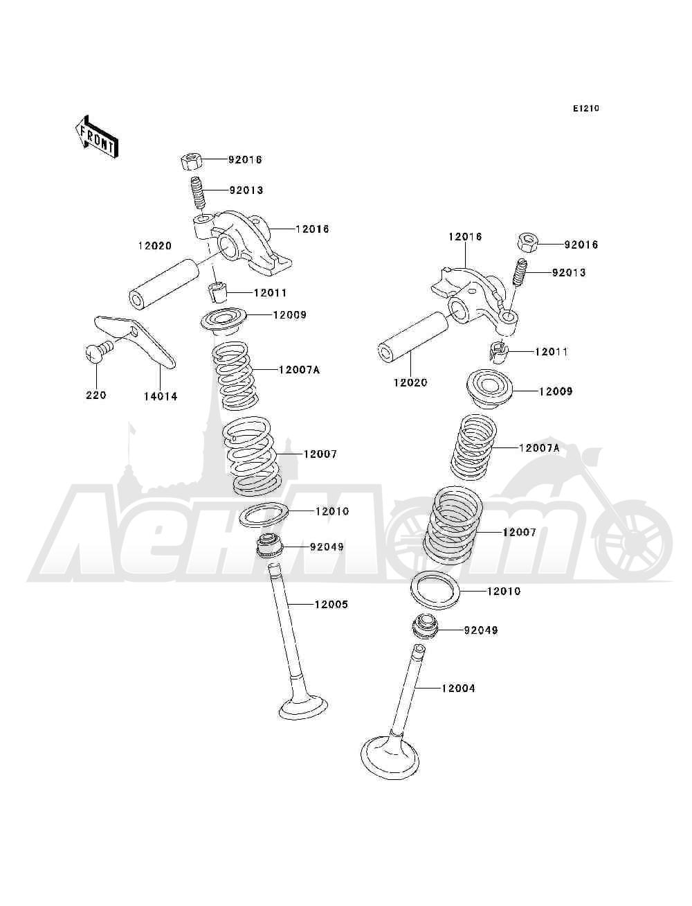 Запчасти для Квадроцикла Kawasaki 1994 BAYOU 300 4X4 (KLF300-C6) Раздел: VALVE(S) | клапан (S)