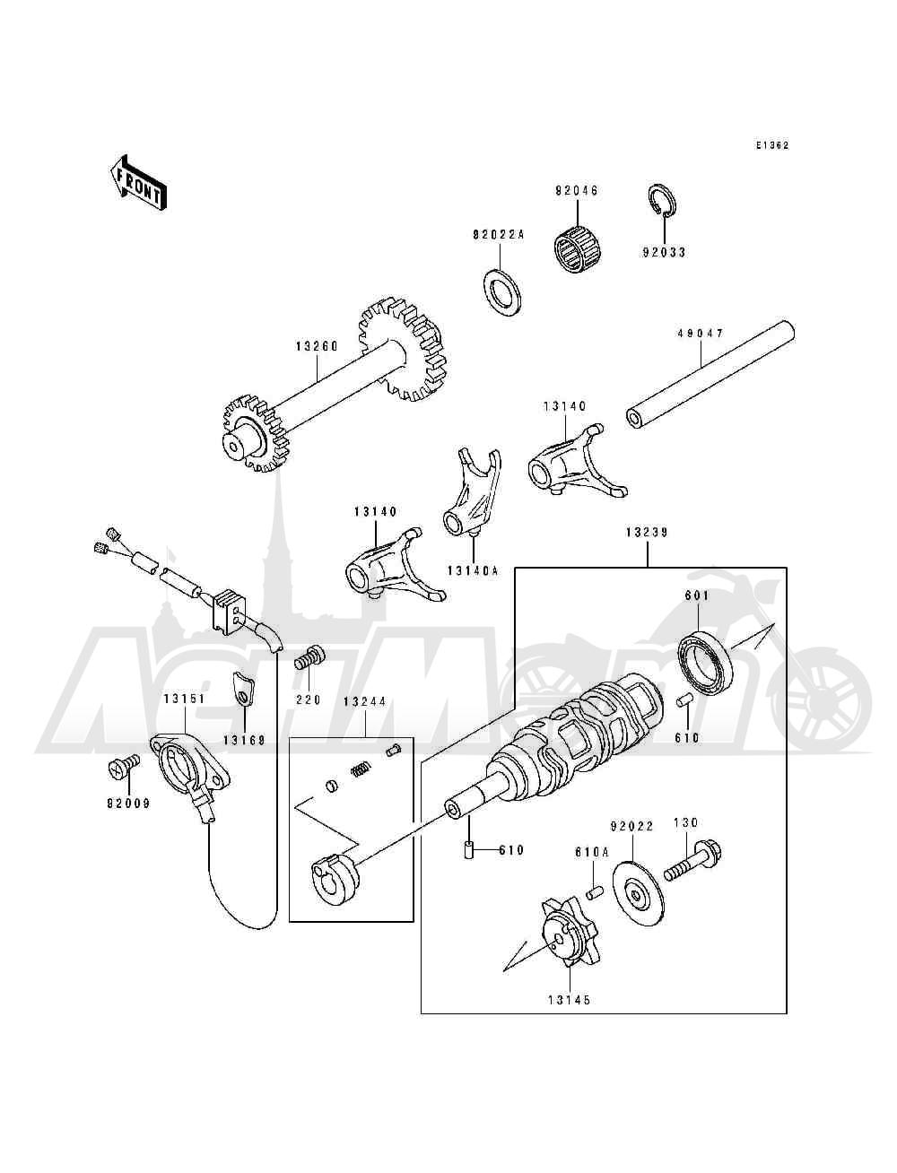Запчасти для Квадроцикла Kawasaki 1994 BAYOU 400 4X4 (KLF400-B2) Раздел: GEAR CHANGE DRUM / SHIFT FORK(S) | переключение передач барабан/вилка переключения (S)