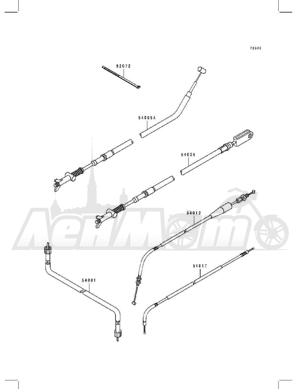 Запчасти для Квадроцикла Kawasaki 1994 BAYOU 400 4X4 (KLF400-B2) Раздел: CABLES | тросики, кабели