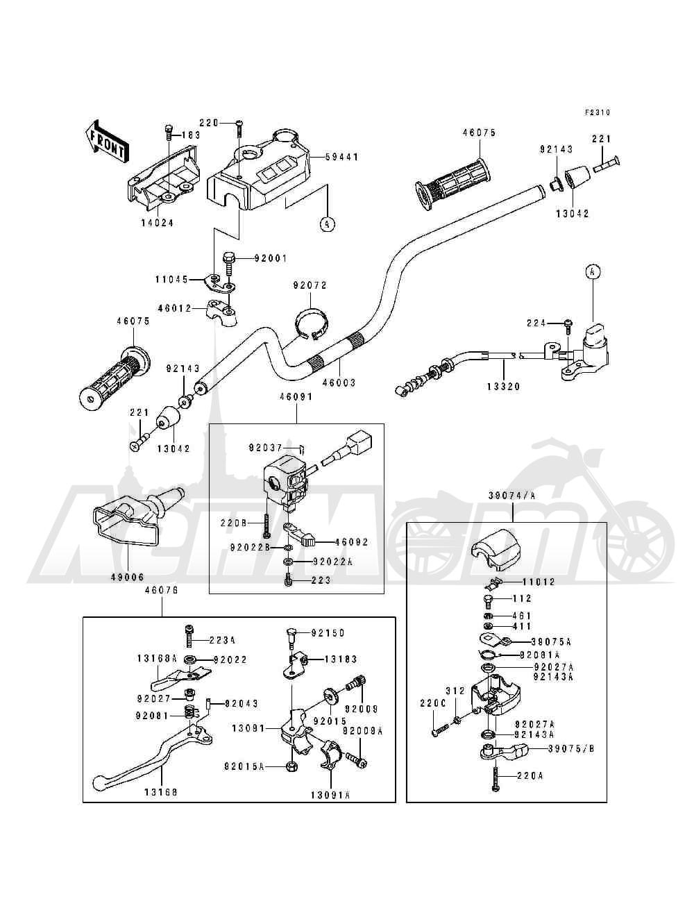 Запчасти для Квадроцикла Kawasaki 1994 BAYOU 400 4X4 (KLF400-B2) Раздел: HANDLEBAR | руль