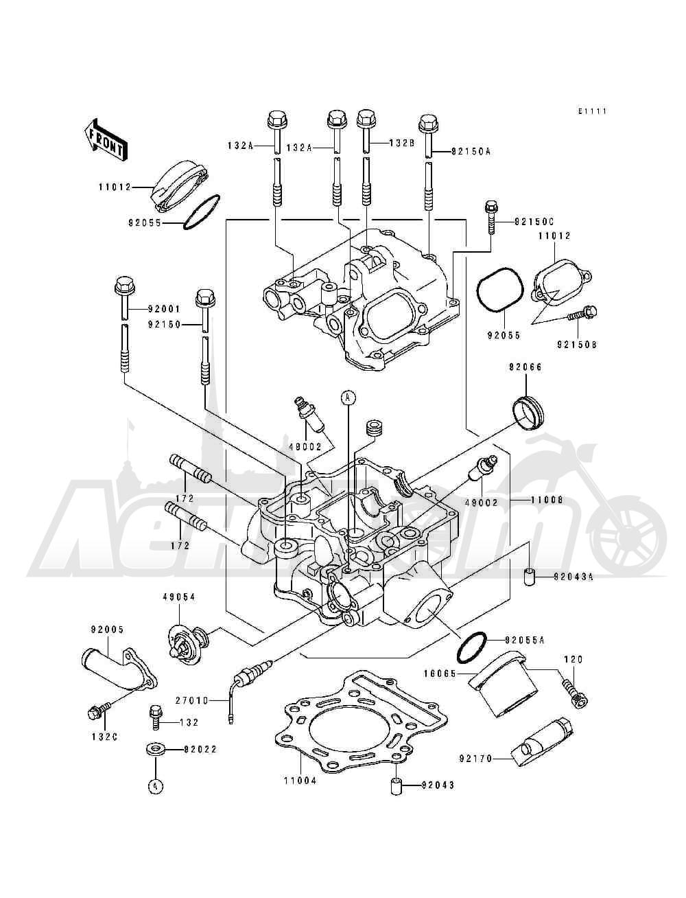 Запчасти для Квадроцикла Kawasaki 1994 BAYOU 400 4X4 (KLF400-B2) Раздел: CYLINDER HEAD | головка цилиндра