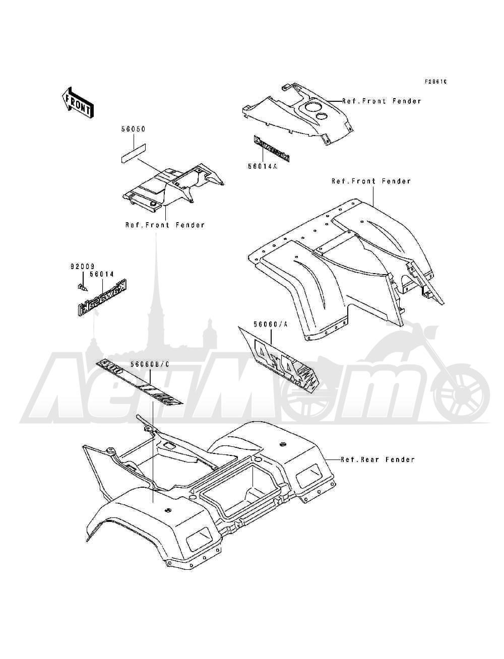 Запчасти для Квадроцикла Kawasaki 1994 BAYOU 400 4X4 (KLF400-B2) Раздел: DECALS(GRAY)(KLF400-B2)   наклейки (серый) (KLF400 B2)
