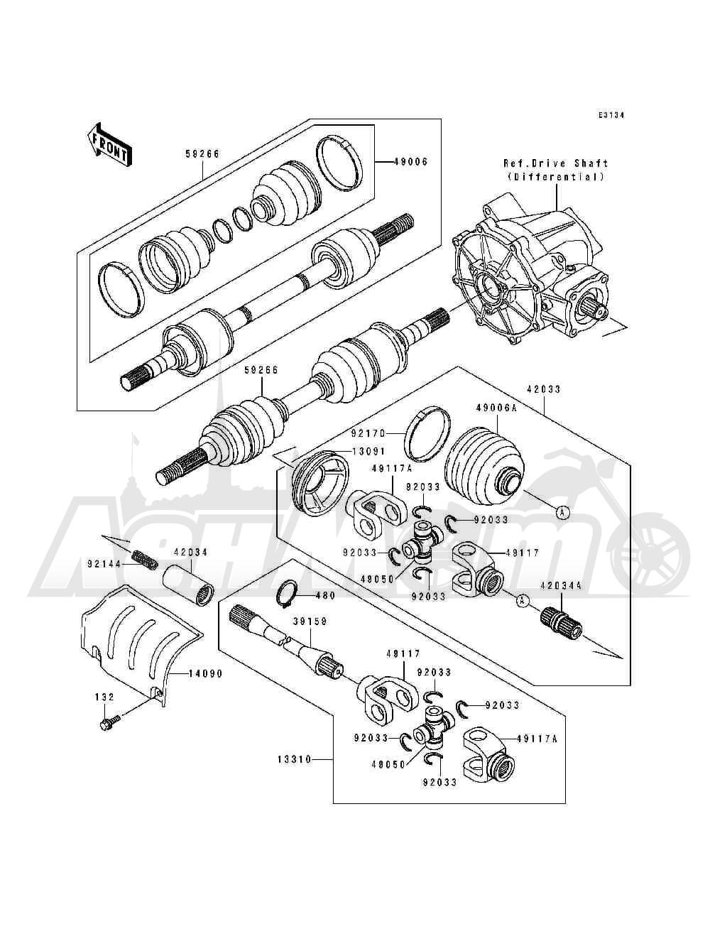 Запчасти для Квадроцикла Kawasaki 1994 BAYOU 400 4X4 (KLF400-B2) Раздел: DRIVE SHAFT(FRONT)(KLF400-B1 / B2) | приводной вал (перед) (KLF400 B1/B2)