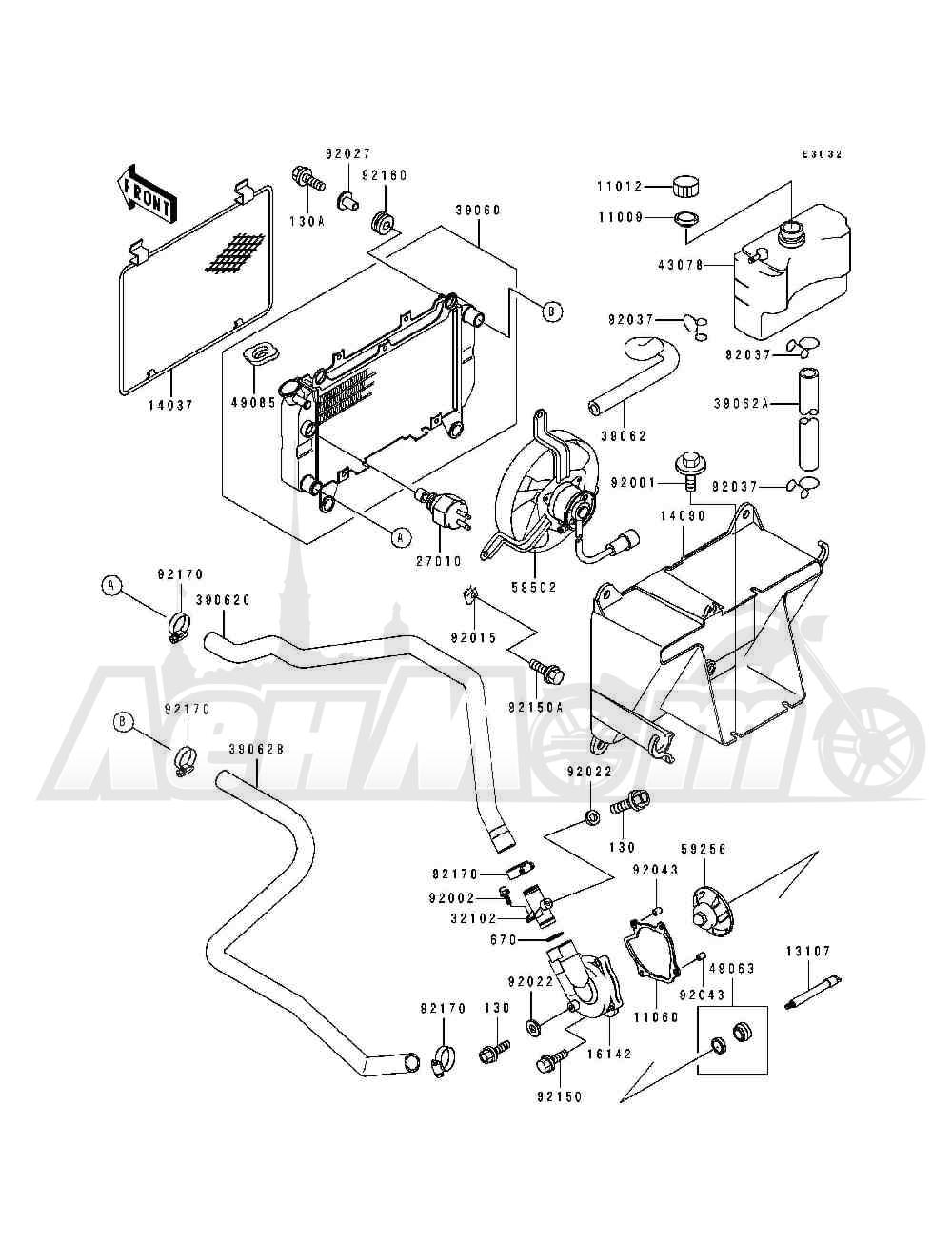 Запчасти для Квадроцикла Kawasaki 1994 BAYOU 400 4X4 (KLF400-B2) Раздел: RADIATOR   радиатор