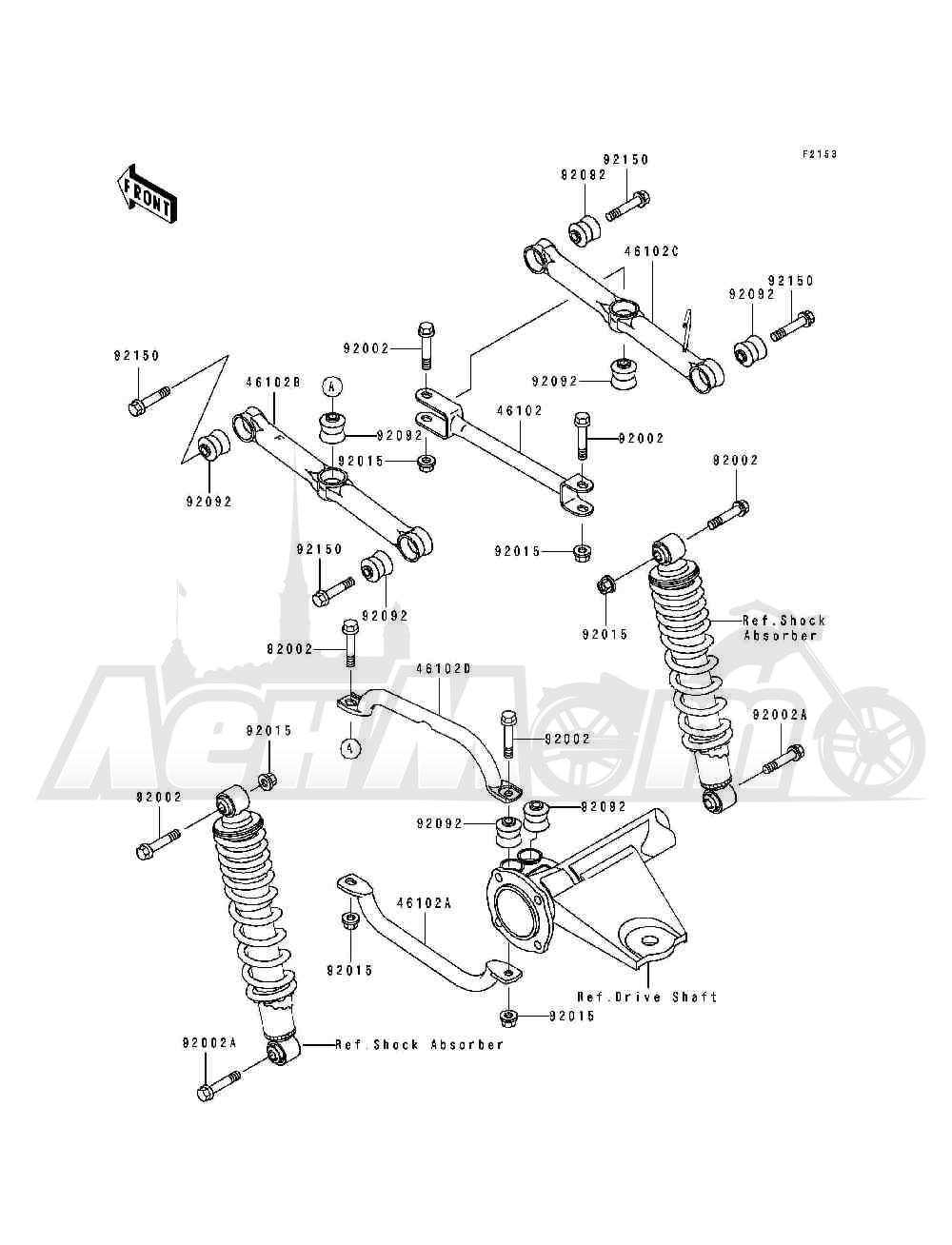 Запчасти для Квадроцикла Kawasaki 1994 BAYOU 400 4X4 (KLF400-B2) Раздел: REAR SUSPENSION | задняя подвеска