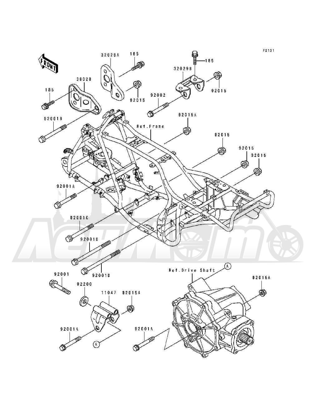 Запчасти для Квадроцикла Kawasaki 1994 BAYOU 400 4X4 (KLF400-B2) Раздел: FRAME FITTINGS | рама фитинги
