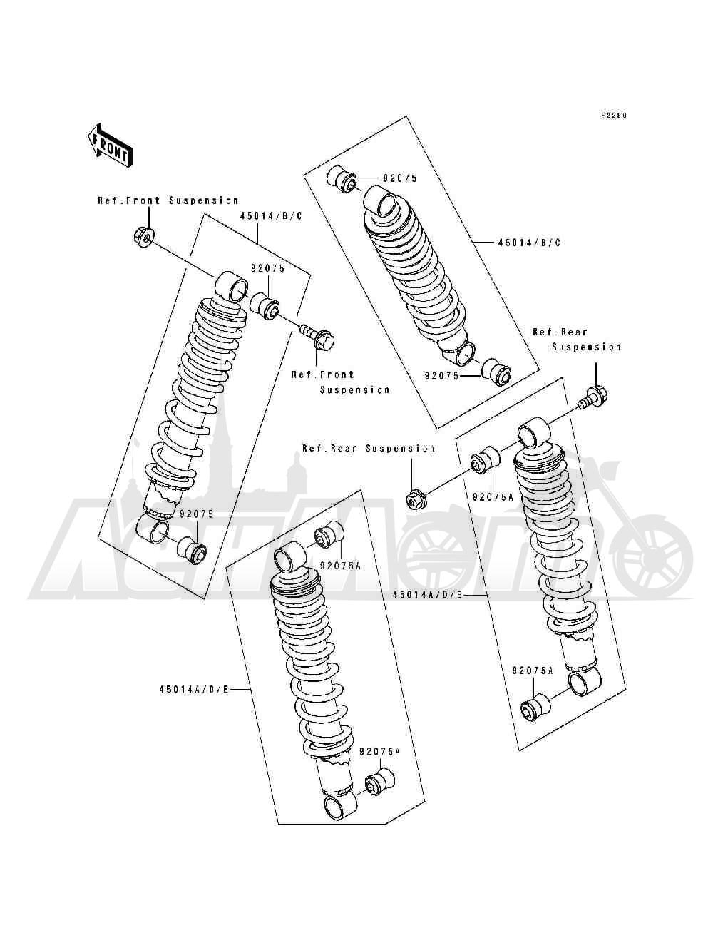 Запчасти для Квадроцикла Kawasaki 1994 BAYOU 400 4X4 (KLF400-B2) Раздел: SHOCK ABSORBER(S) | амортизатор (S)