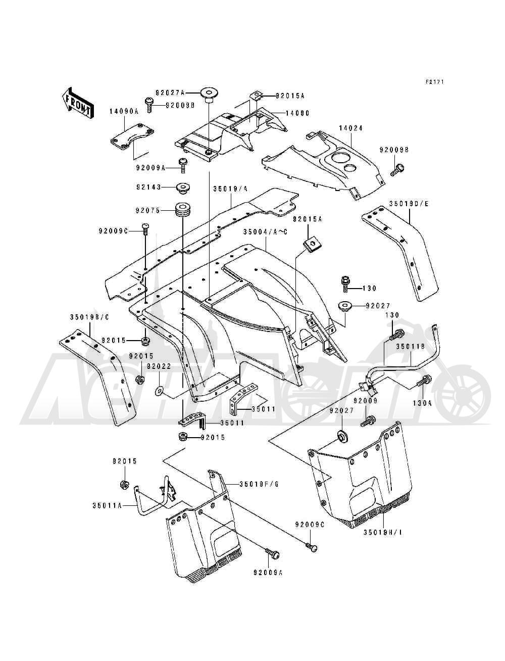 Запчасти для Квадроцикла Kawasaki 1994 BAYOU 400 4X4 (KLF400-B2) Раздел: FRONT FENDER(S)   переднее крыло (S)