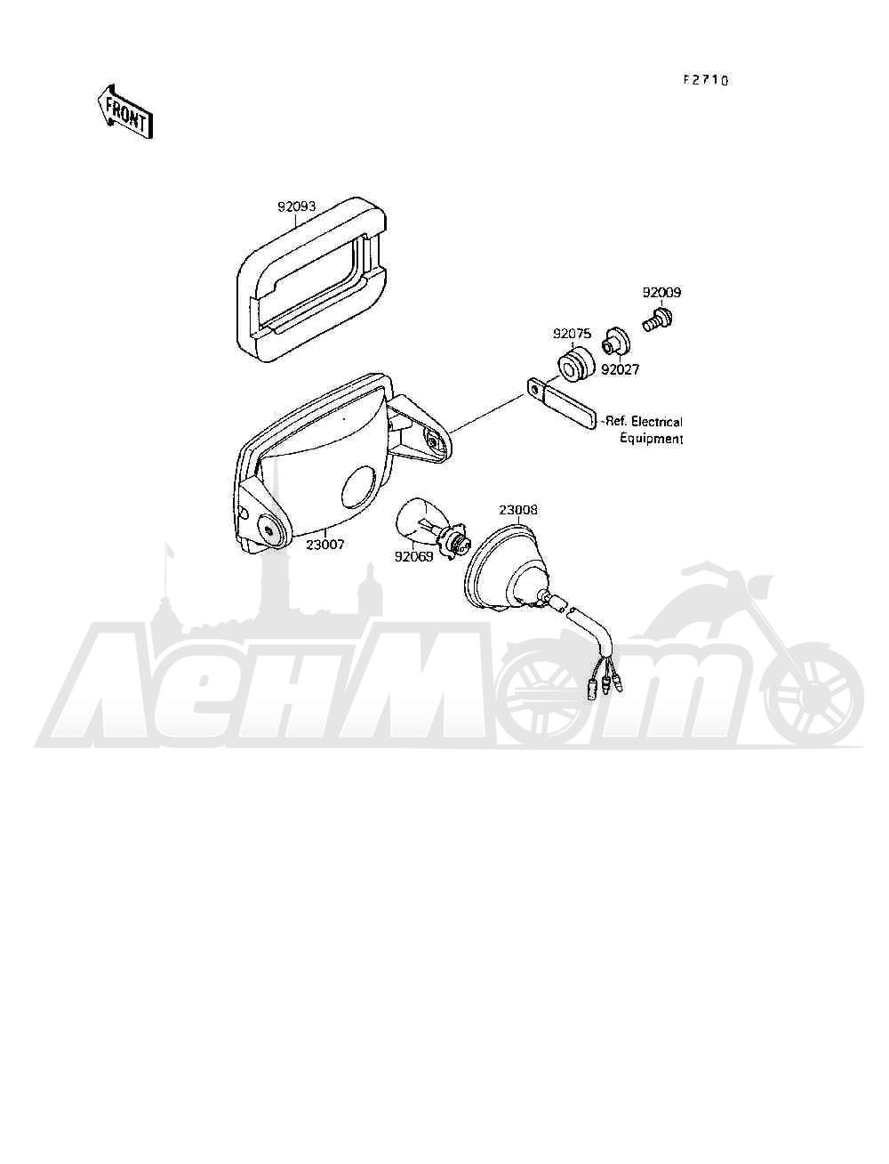 Запчасти для Квадроцикла Kawasaki 1994 MOJAVE 250 (KSF250-A8) Раздел: HEADLIGHT(S) | передняя фара (S)