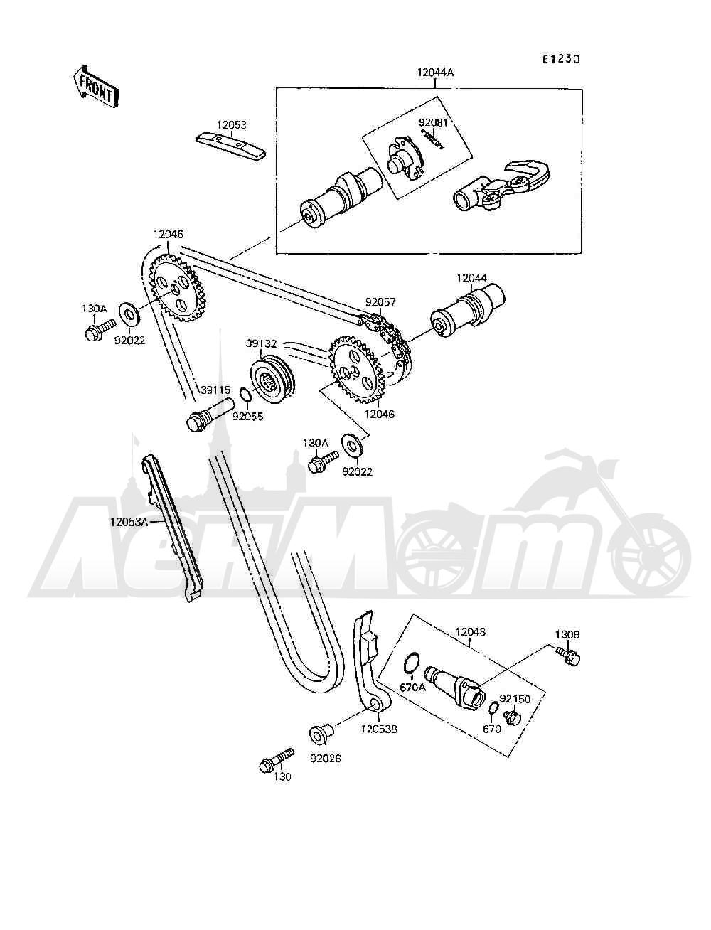 Запчасти для Квадроцикла Kawasaki 1994 MOJAVE 250 (KSF250-A8) Раздел: CAMSHAFT(S) / TENSIONER   распредвал (S)/натяжитель