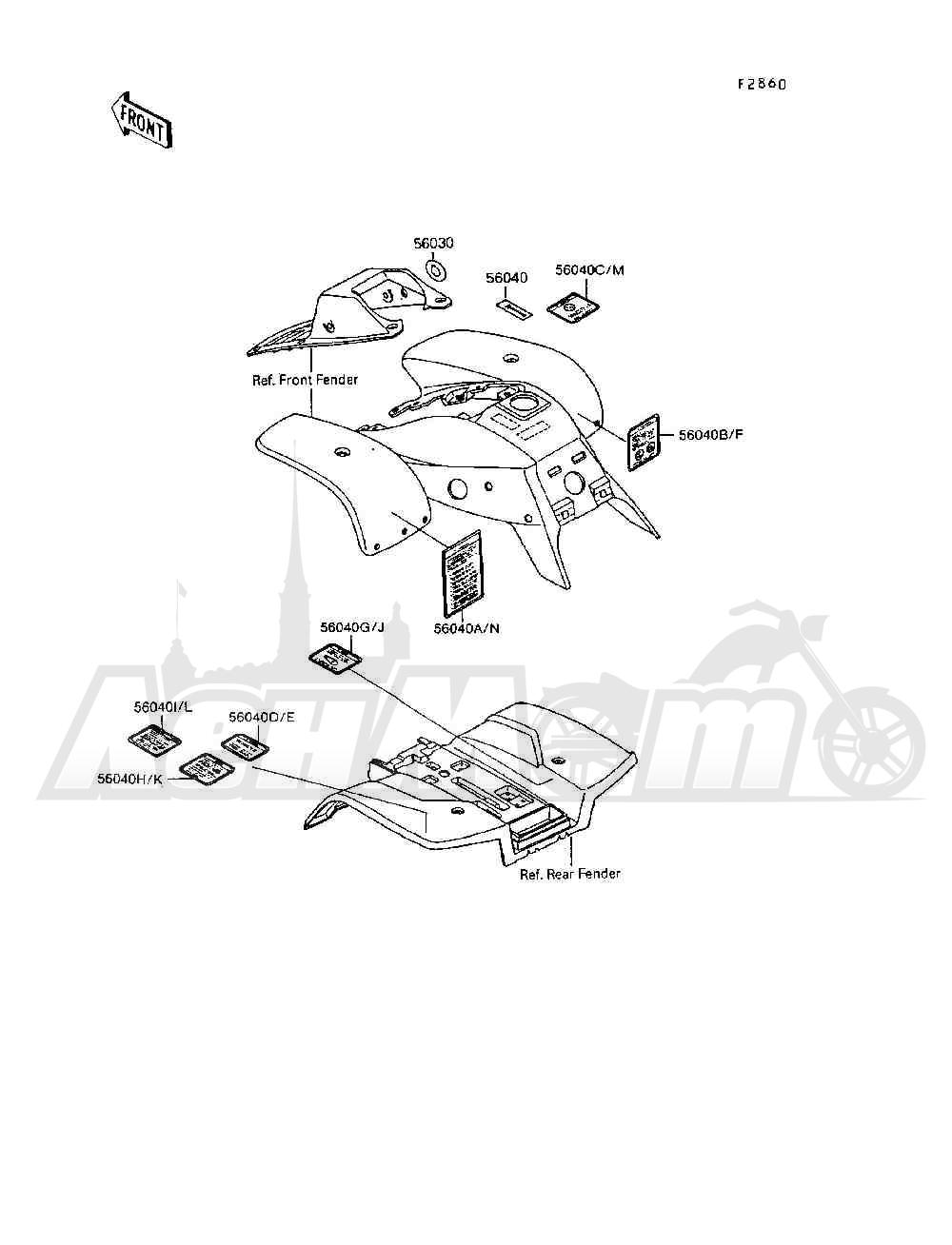 Запчасти для Квадроцикла Kawasaki 1994 MOJAVE 250 (KSF250-A8) Раздел: LABELS | этикетки, метки