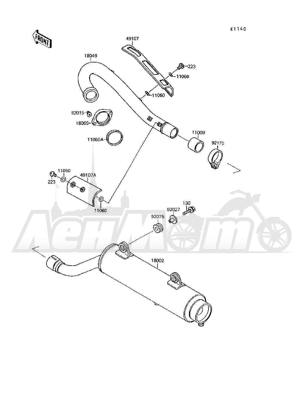 Запчасти для Квадроцикла Kawasaki 1994 MOJAVE 250 (KSF250-A8) Раздел: MUFFLER(S) | глушитель (S)