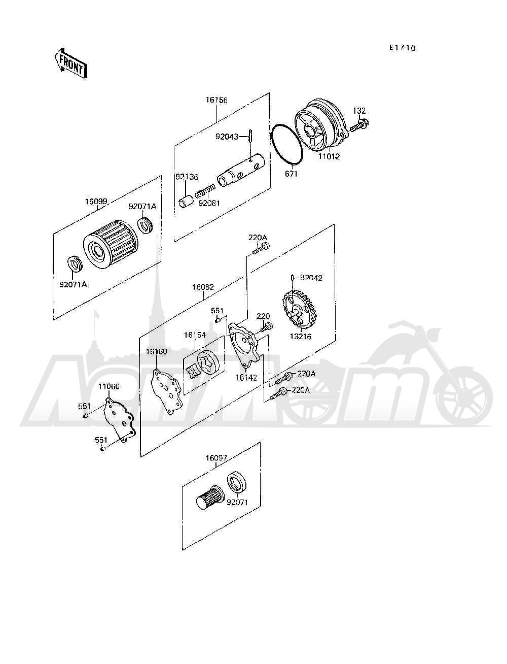 Запчасти для Квадроцикла Kawasaki 1994 MOJAVE 250 (KSF250-A8) Раздел: OIL PUMP / OIL FILTER | маслянный насос/масляный фильтр