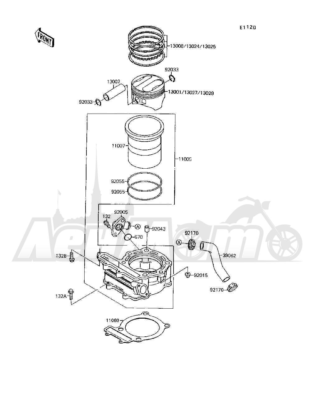 Запчасти для Квадроцикла Kawasaki 1994 MOJAVE 250 (KSF250-A8) Раздел: CYLINDER / PISTON(S) | цилиндр/поршень (S)
