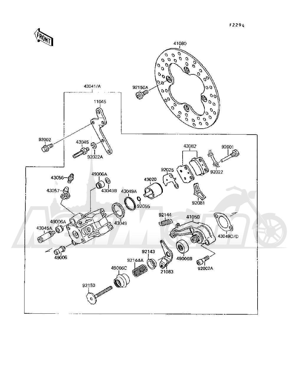 Запчасти для Квадроцикла Kawasaki 1994 MOJAVE 250 (KSF250-A8) Раздел: REAR BRAKE   задний тормоз