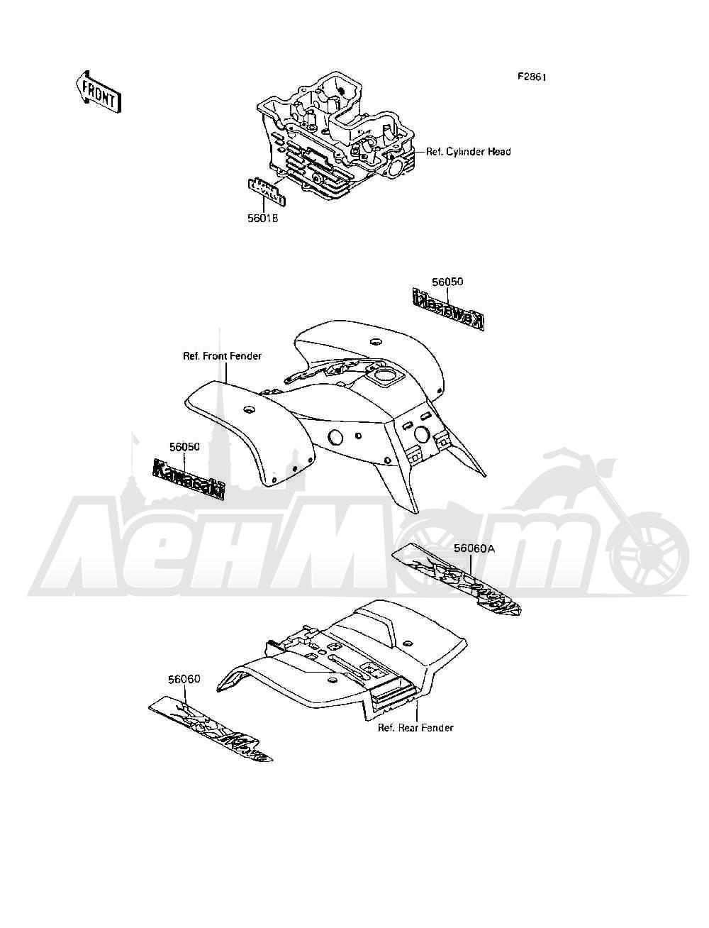 Запчасти для Квадроцикла Kawasaki 1994 MOJAVE 250 (KSF250-A8) Раздел: DECALS | наклейки