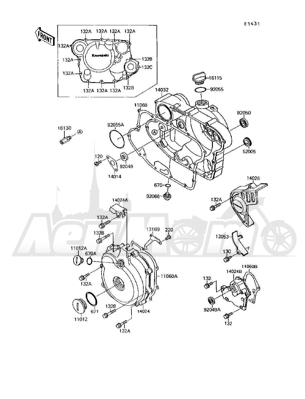 Запчасти для Квадроцикла Kawasaki 1994 MOJAVE 250 (KSF250-A8) Раздел: ENGINE COVER(S) | крышка двигателя (S)