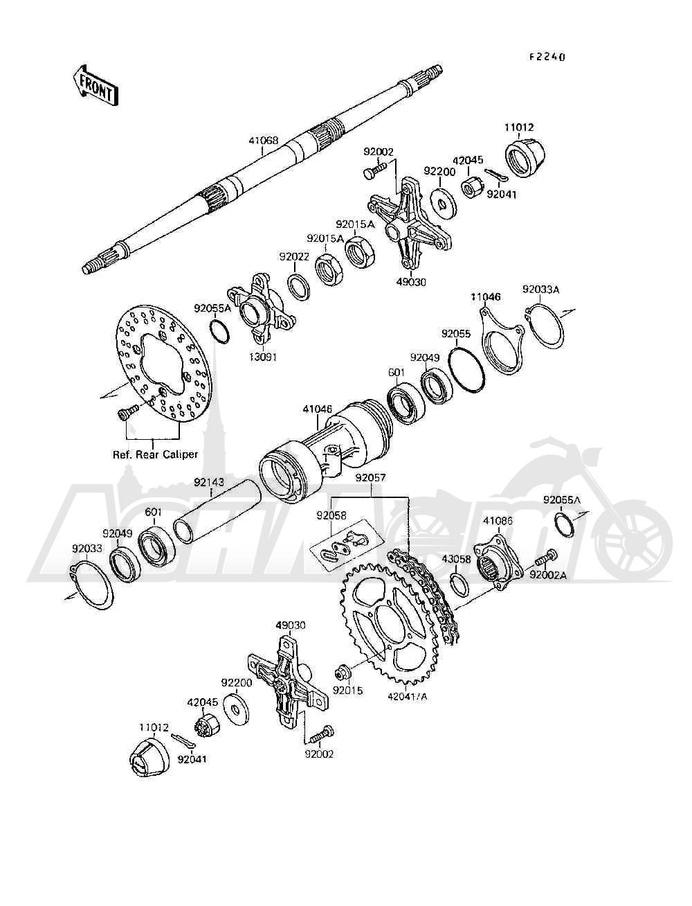 Запчасти для Квадроцикла Kawasaki 1994 MOJAVE 250 (KSF250-A8) Раздел: REAR HUB | зад ступица