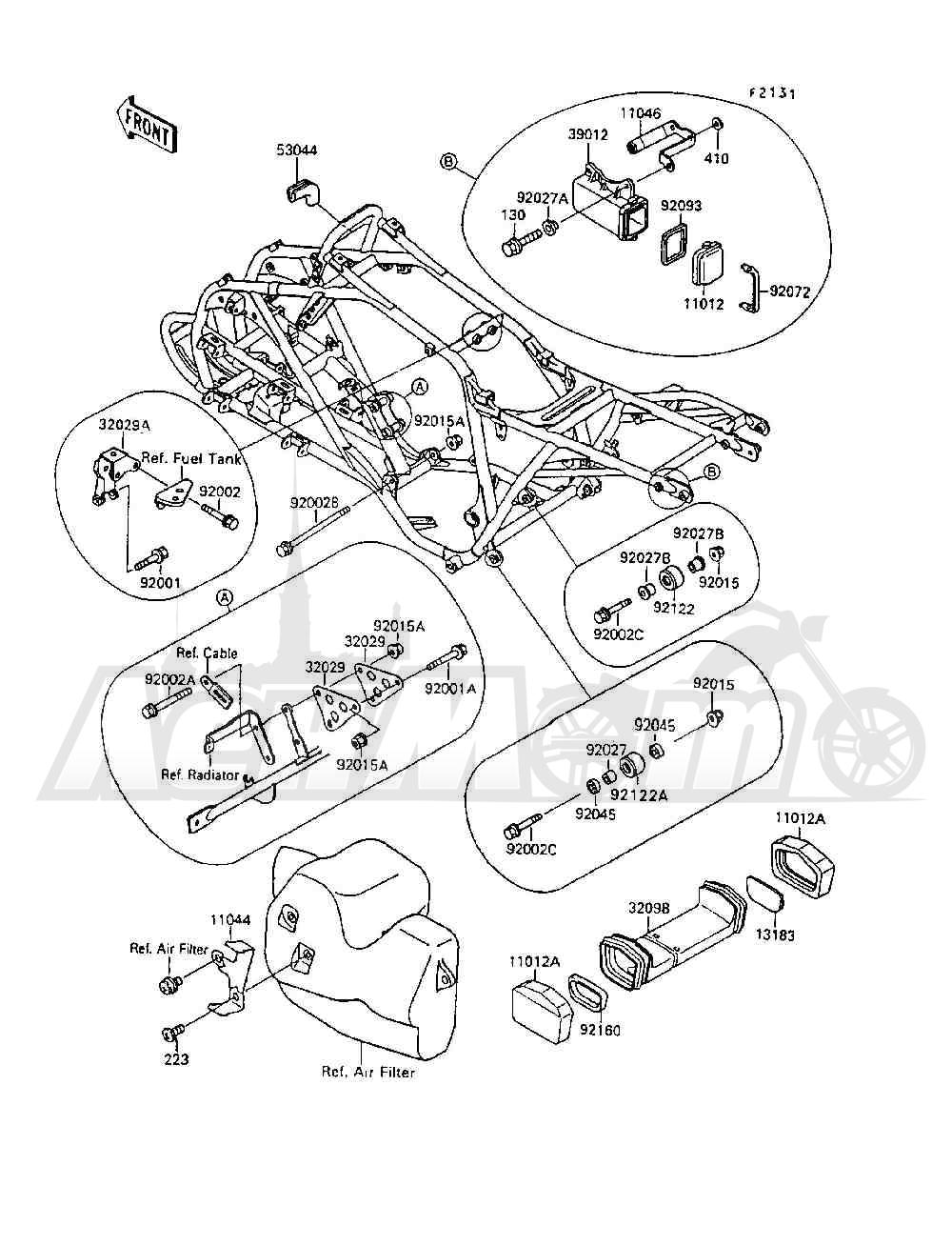 Запчасти для Квадроцикла Kawasaki 1994 MOJAVE 250 (KSF250-A8) Раздел: FRAME FITTINGS | рама фитинги