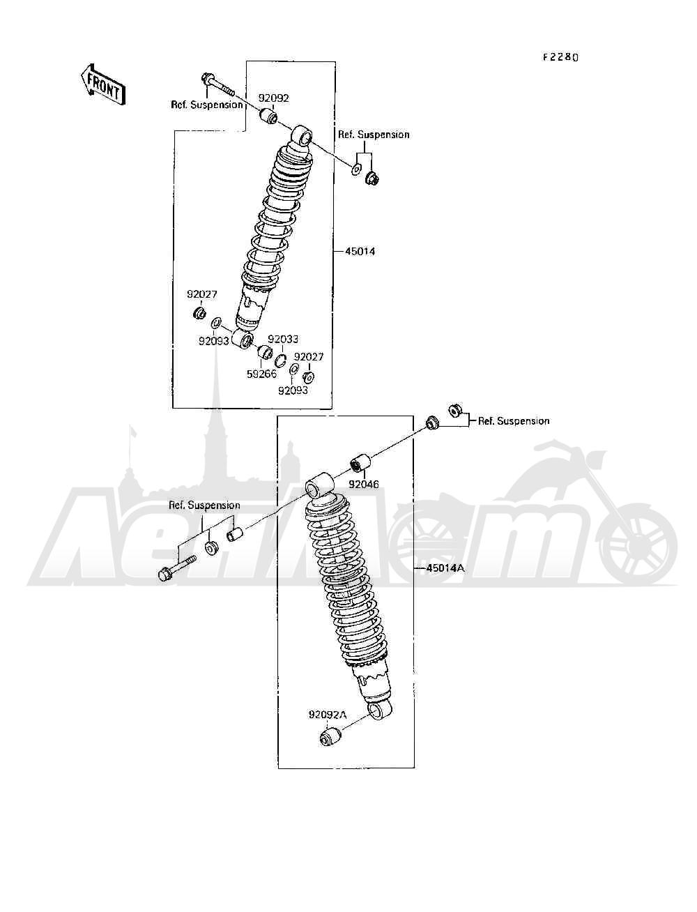 Запчасти для Квадроцикла Kawasaki 1994 MOJAVE 250 (KSF250-A8) Раздел: SHOCK ABSORBER(S) | амортизатор (S)