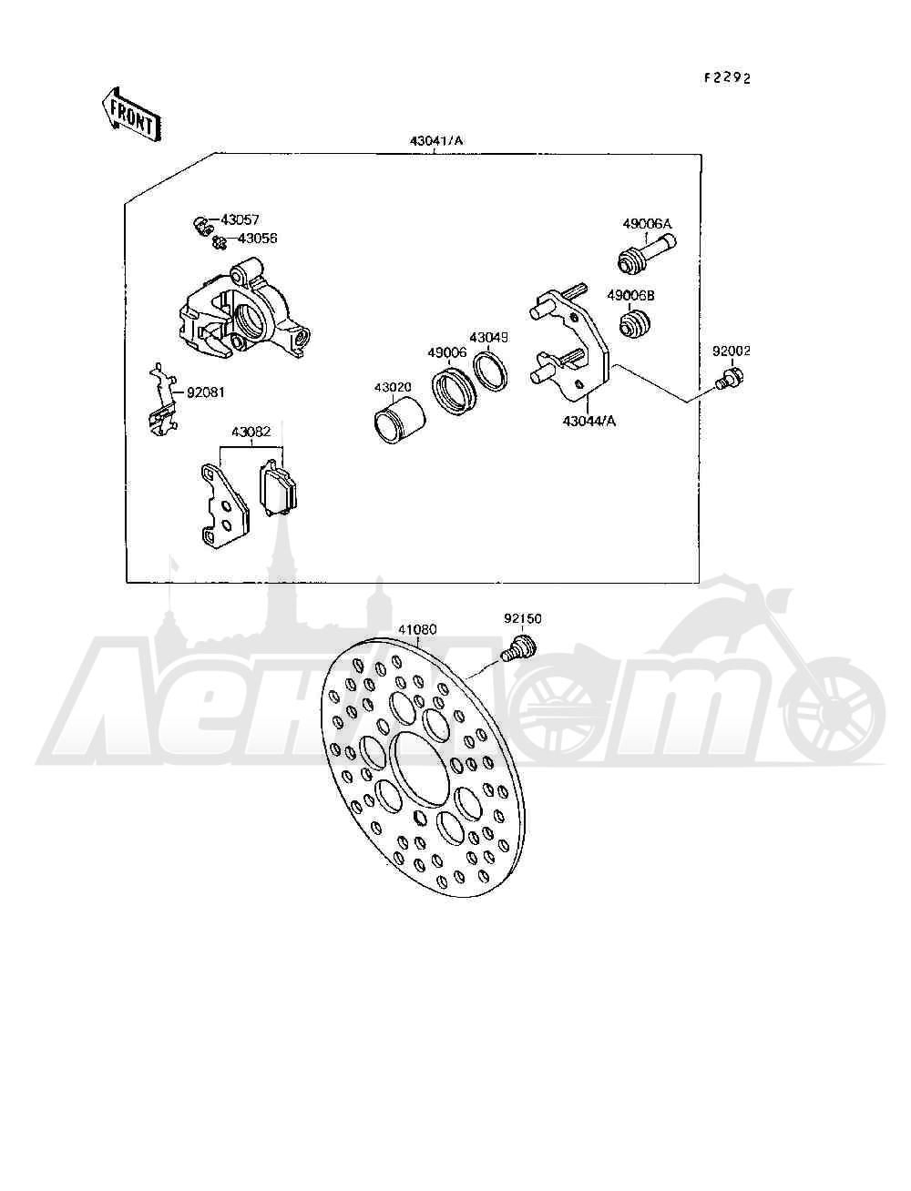 Запчасти для Квадроцикла Kawasaki 1994 MOJAVE 250 (KSF250-A8) Раздел: FRONT BRAKE | передний тормоз