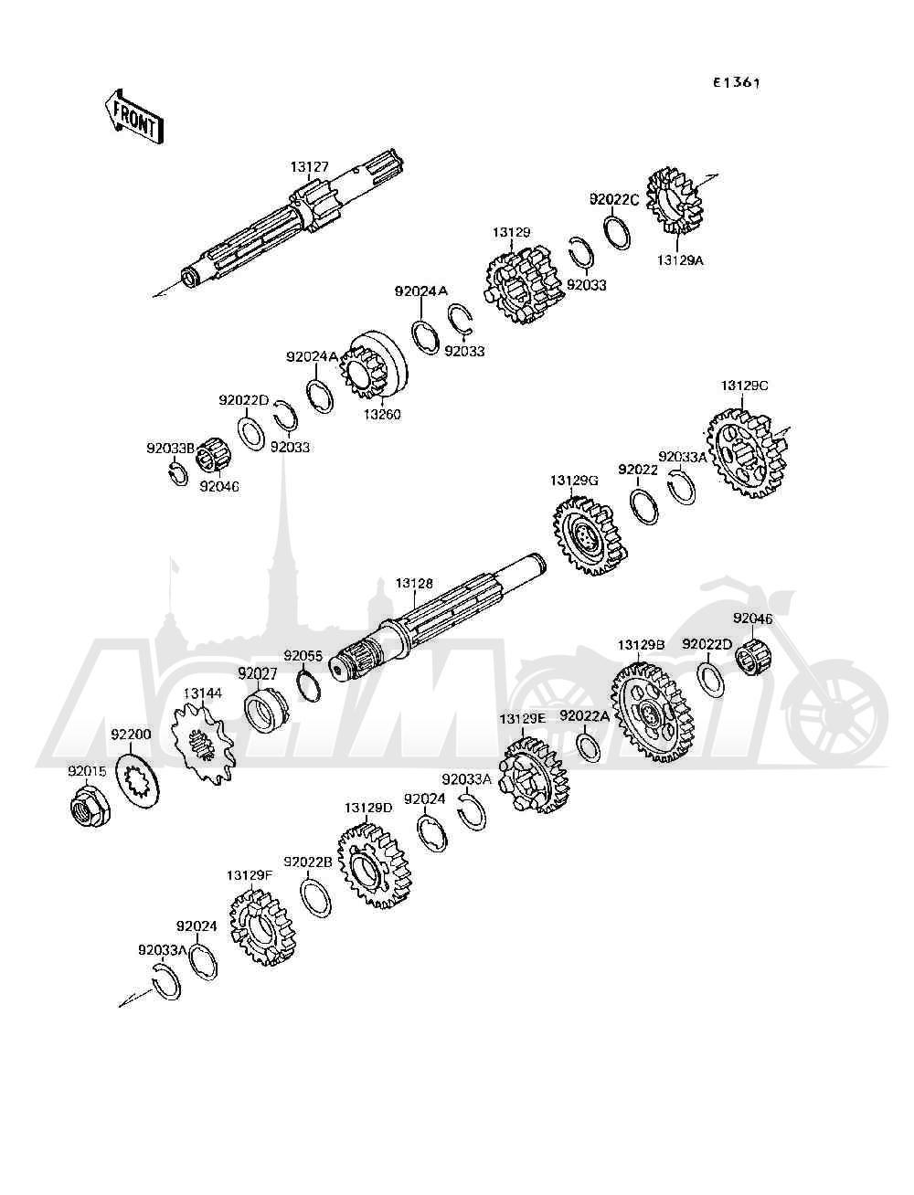 Запчасти для Квадроцикла Kawasaki 1994 MOJAVE 250 (KSF250-A8) Раздел: TRANSMISSION   трансмиссия