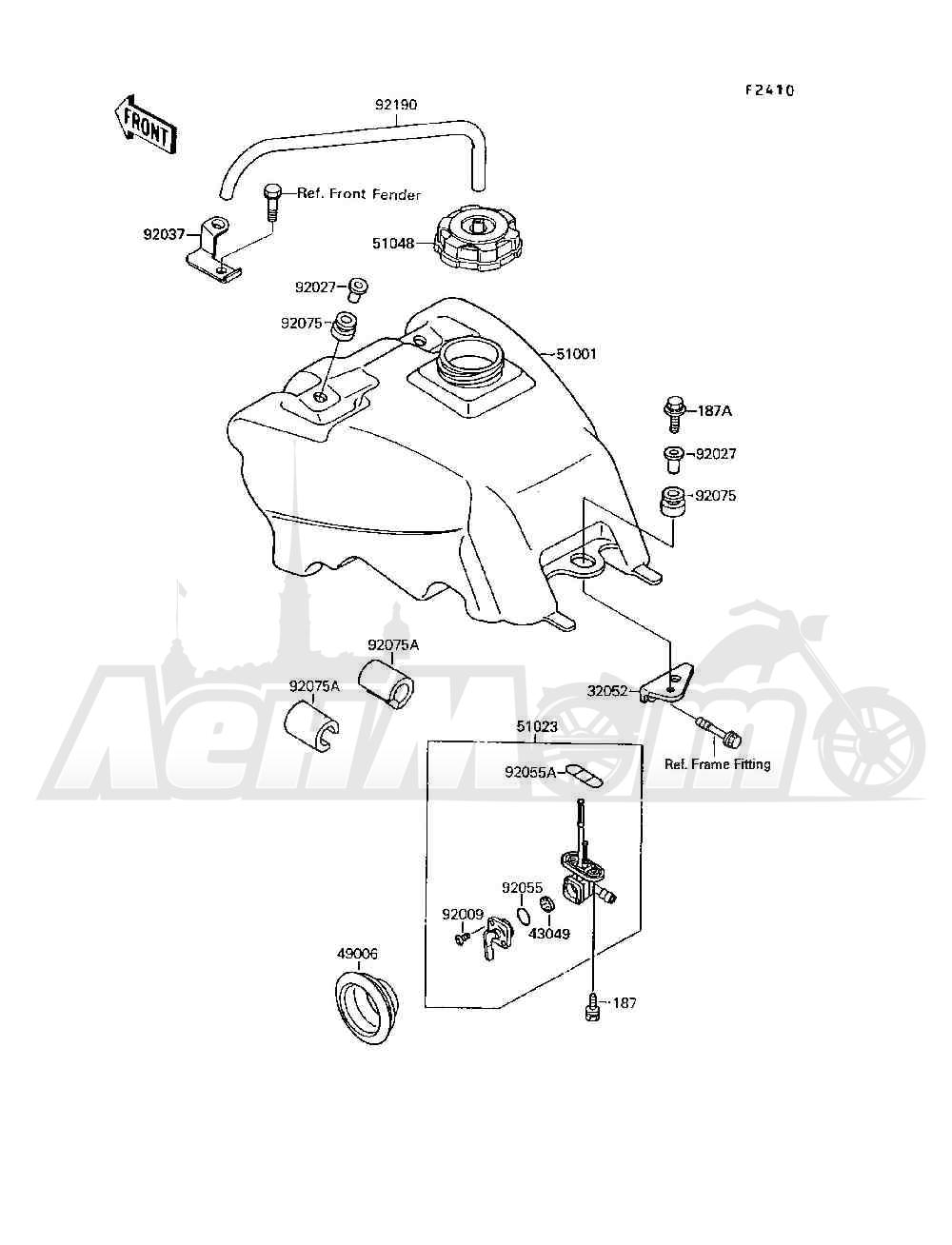 Запчасти для Квадроцикла Kawasaki 1994 MOJAVE 250 (KSF250-A8) Раздел: FUEL TANK | топливный бак