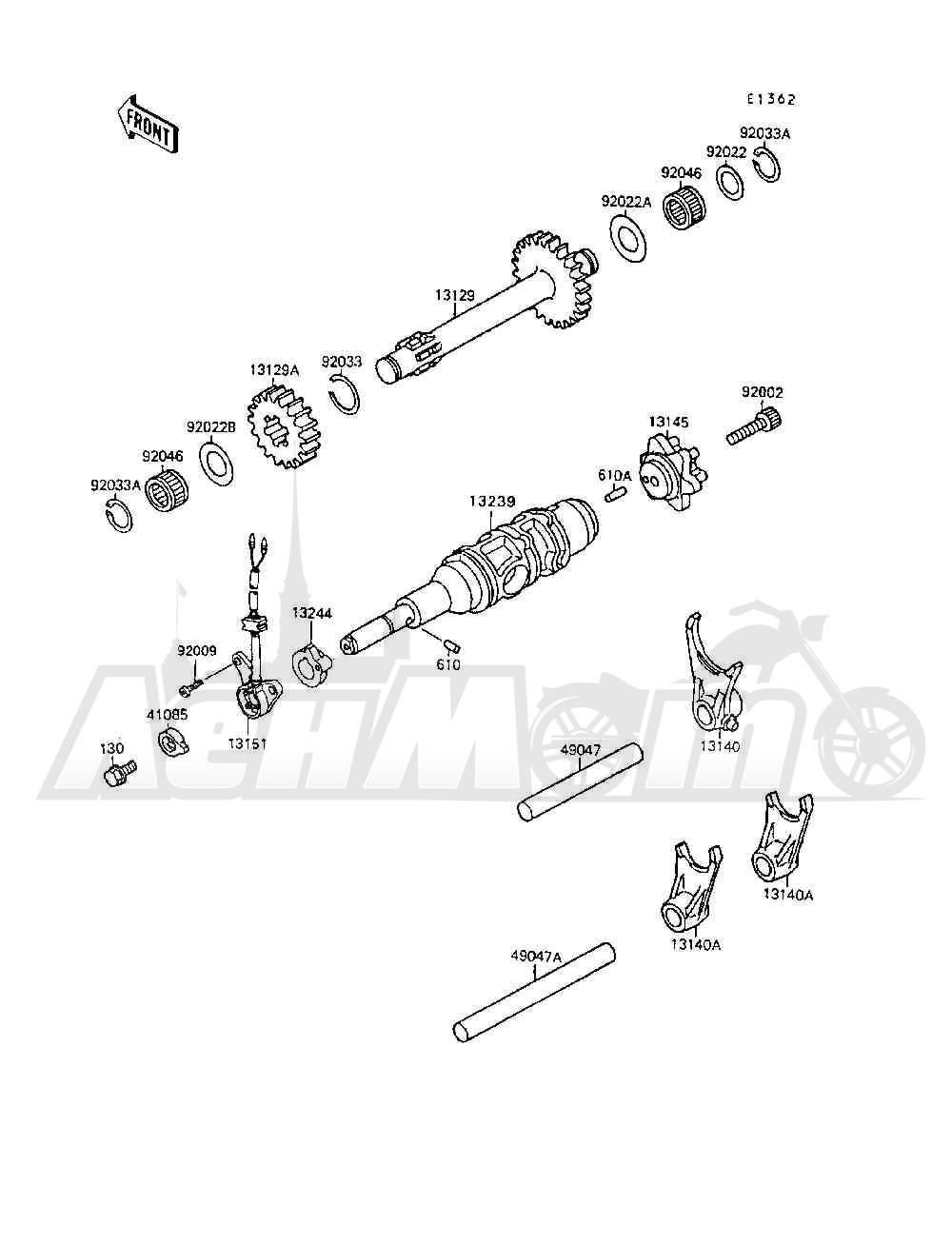 Запчасти для Квадроцикла Kawasaki 1994 MOJAVE 250 (KSF250-A8) Раздел: GEAR CHANGE DRUM / SHIFT FORK(S) | переключение передач барабан/вилка переключения (S)